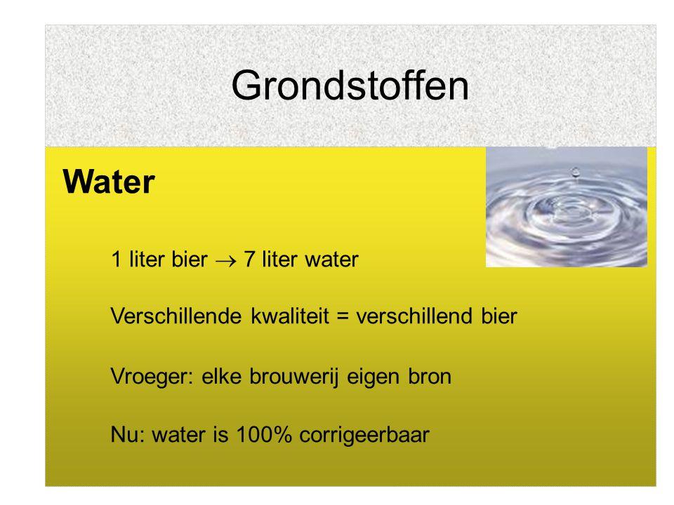 Grondstoffen Water Verschillende kwaliteit = verschillend bier Vroeger: elke brouwerij eigen bron Nu: water is 100% corrigeerbaar 1 liter bier  7 lit