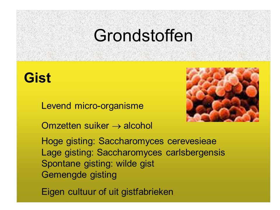 Grondstoffen Gist Levend micro-organisme Omzetten suiker  alcohol Hoge gisting: Saccharomyces cerevesieae Lage gisting: Saccharomyces carlsbergensis