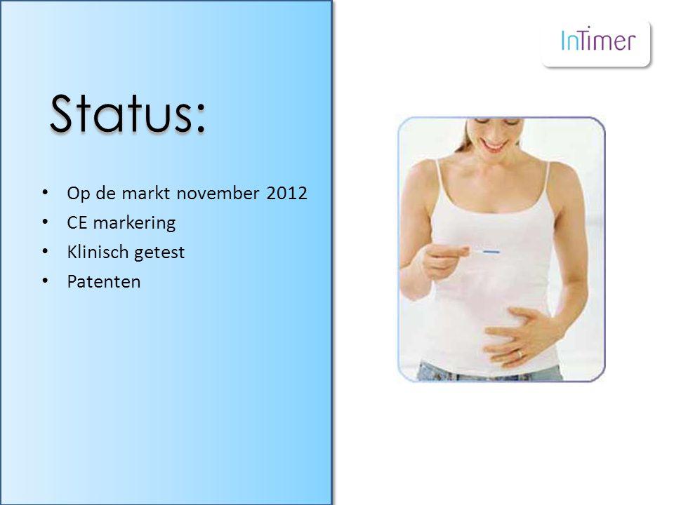• Op de markt november 2012 • CE markering • Klinisch getest • Patenten Status: