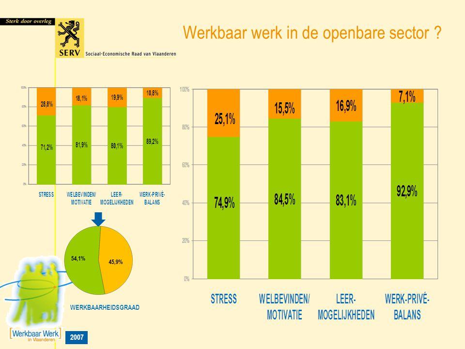 2007 Werkbaar werk in de openbare sector ? WERKBAARHEIDSGRAAD