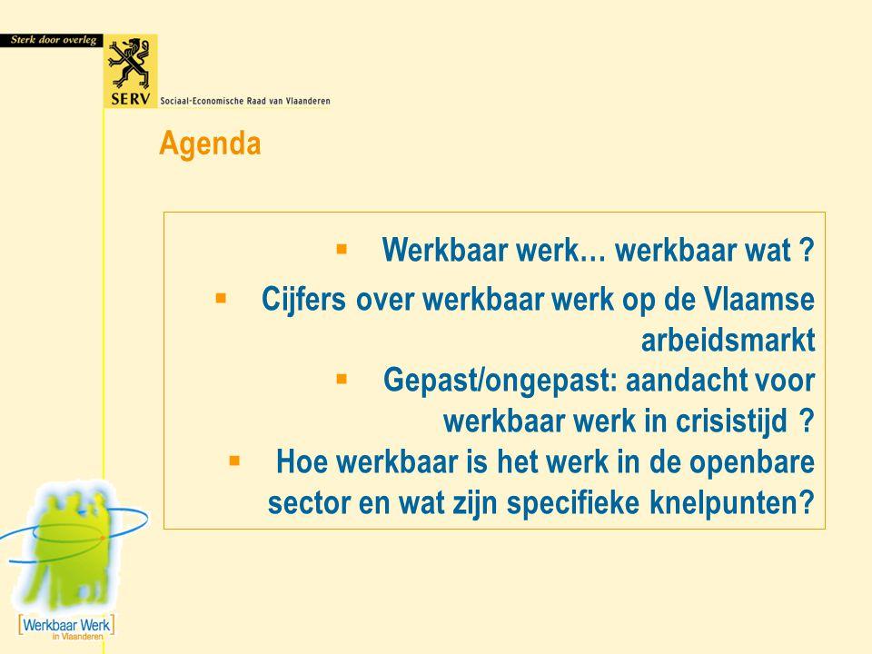 Werkbaar werk… werkbaar wat ?  Cijfers over werkbaar werk op de Vlaamse arbeidsmarkt  Gepast/ongepast: aandacht voor werkbaar werk in crisistijd ?