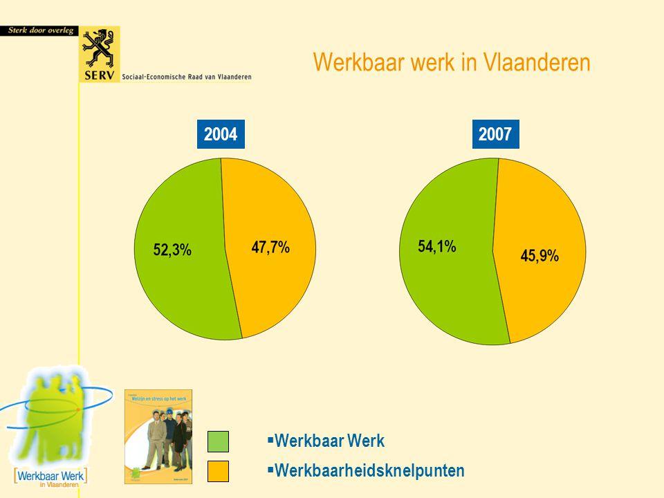 Werkbaar werk in Vlaanderen 20042007 + 40.000 wn.  Werkbaar Werk  Werkbaarheidsknelpunten