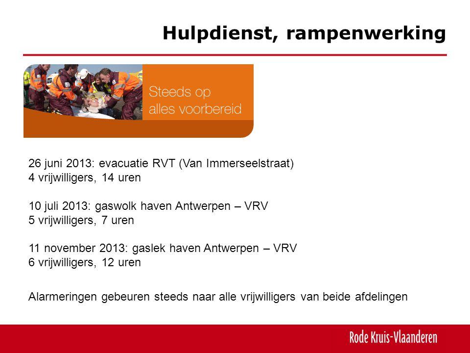 Hulpdienst, rampenwerking 26 juni 2013: evacuatie RVT (Van Immerseelstraat) 4 vrijwilligers, 14 uren 10 juli 2013: gaswolk haven Antwerpen – VRV 5 vri