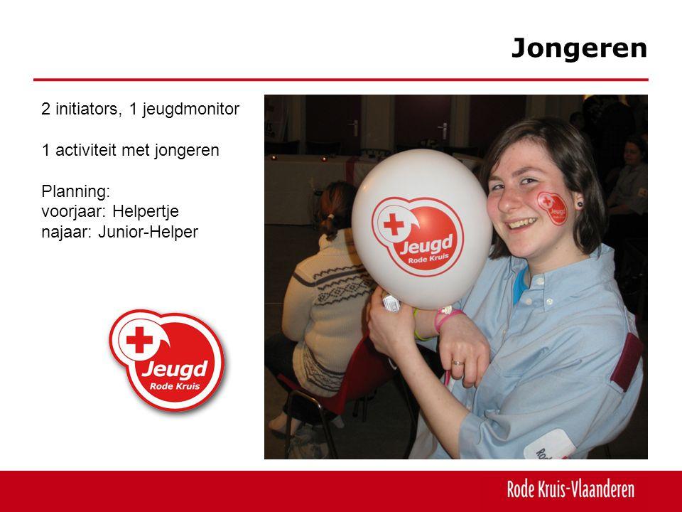 Jongeren 2 initiators, 1 jeugdmonitor 1 activiteit met jongeren Planning: voorjaar: Helpertje najaar: Junior-Helper