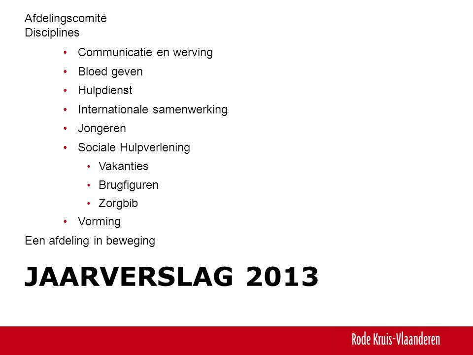 JAARVERSLAG 2013 Afdelingscomité Disciplines •Communicatie en werving •Bloed geven •Hulpdienst •Internationale samenwerking •Jongeren •Sociale Hulpver