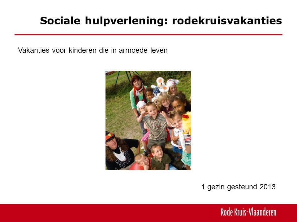 Sociale hulpverlening: rodekruisvakanties Vakanties voor kinderen die in armoede leven 1 gezin gesteund 2013