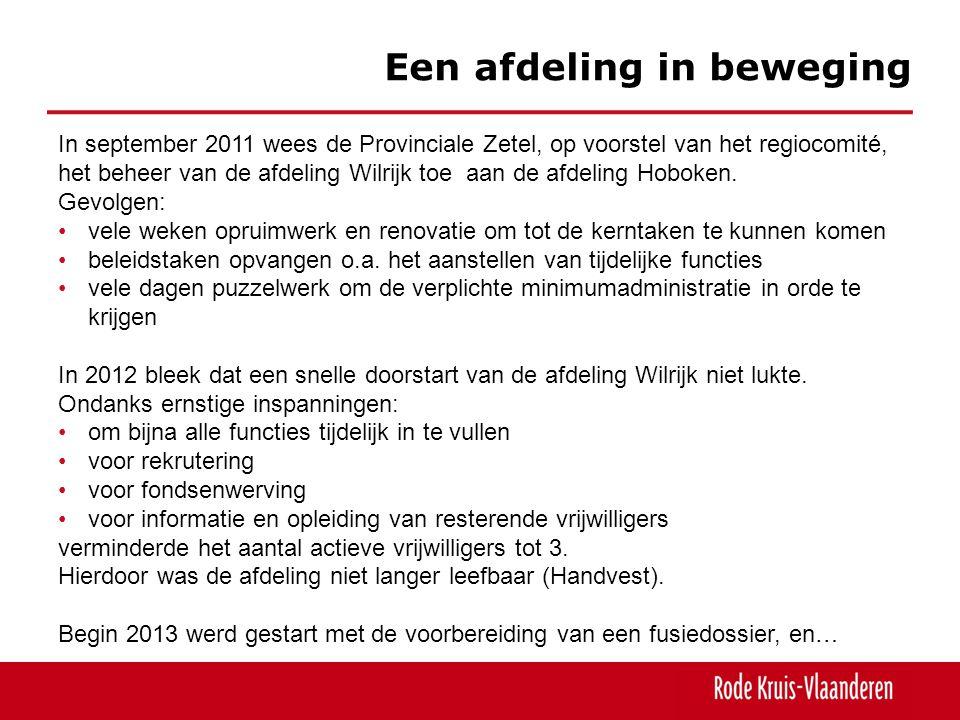 Een afdeling in beweging In september 2011 wees de Provinciale Zetel, op voorstel van het regiocomité, het beheer van de afdeling Wilrijk toe aan de a