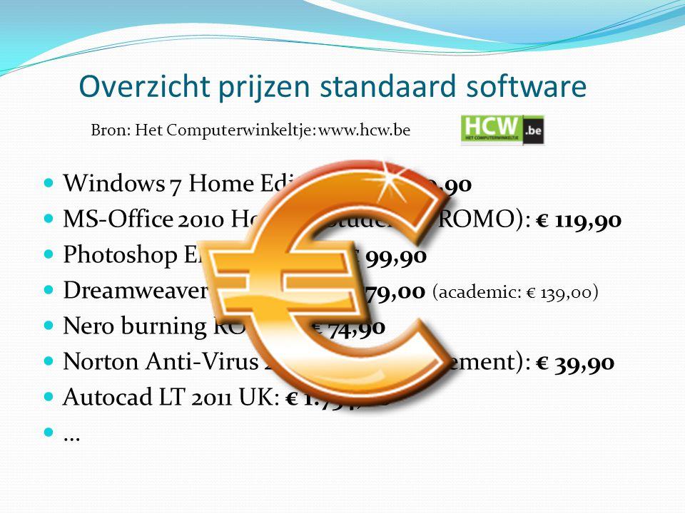 Overzicht prijzen standaard software  Windows 7 Home Edition Nl: € 199,90  MS-Office 2010 Home & Student (PROMO): € 119,90  Photoshop Elements 9 Nl: € 99,90  Dreamweaver (websites): € 579,00 (academic: € 139,00)  Nero burning ROM 10: € 74,90  Norton Anti-Virus 2011 (1 jaar abonnement): € 39,90  Autocad LT 2011 UK: € 1.754,00 …… Bron: Het Computerwinkeltje: www.hcw.be