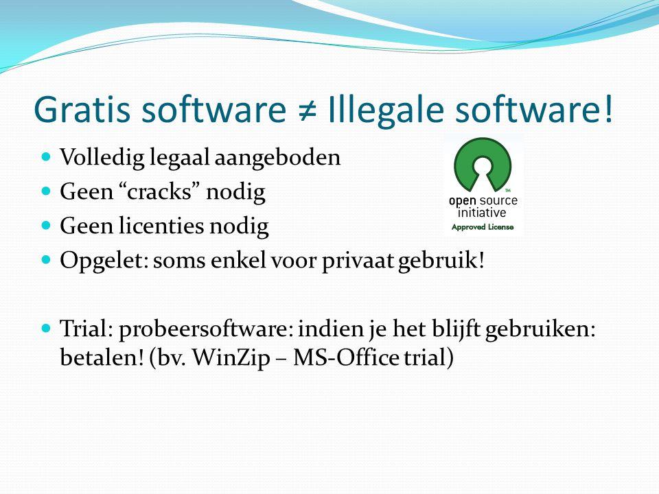 Gratis software ≠ Illegale software.