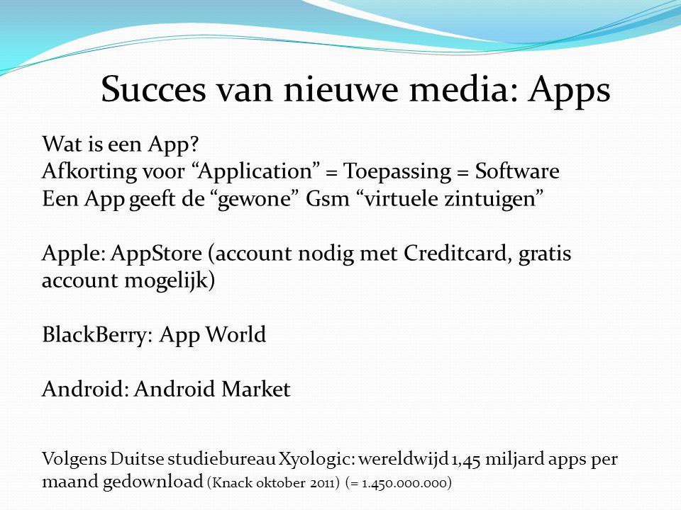 """Succes van nieuwe media: Apps Wat is een App? Afkorting voor """"Application"""" = Toepassing = Software Een App geeft de """"gewone"""" Gsm """"virtuele zintuigen"""""""