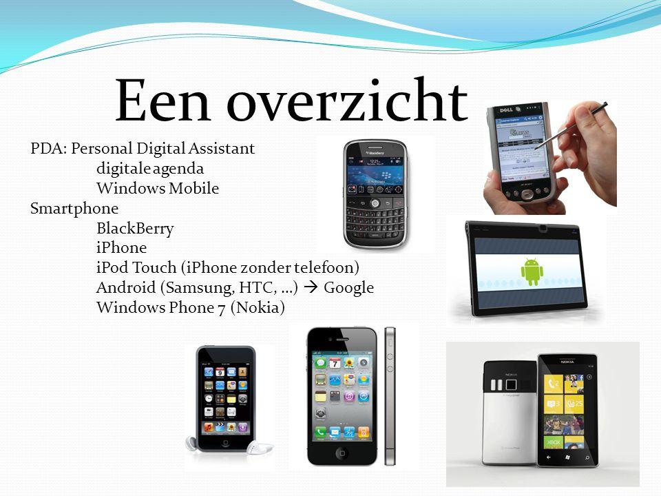 Een overzicht PDA: Personal Digital Assistant digitale agenda Windows Mobile Smartphone BlackBerry iPhone iPod Touch (iPhone zonder telefoon) Android