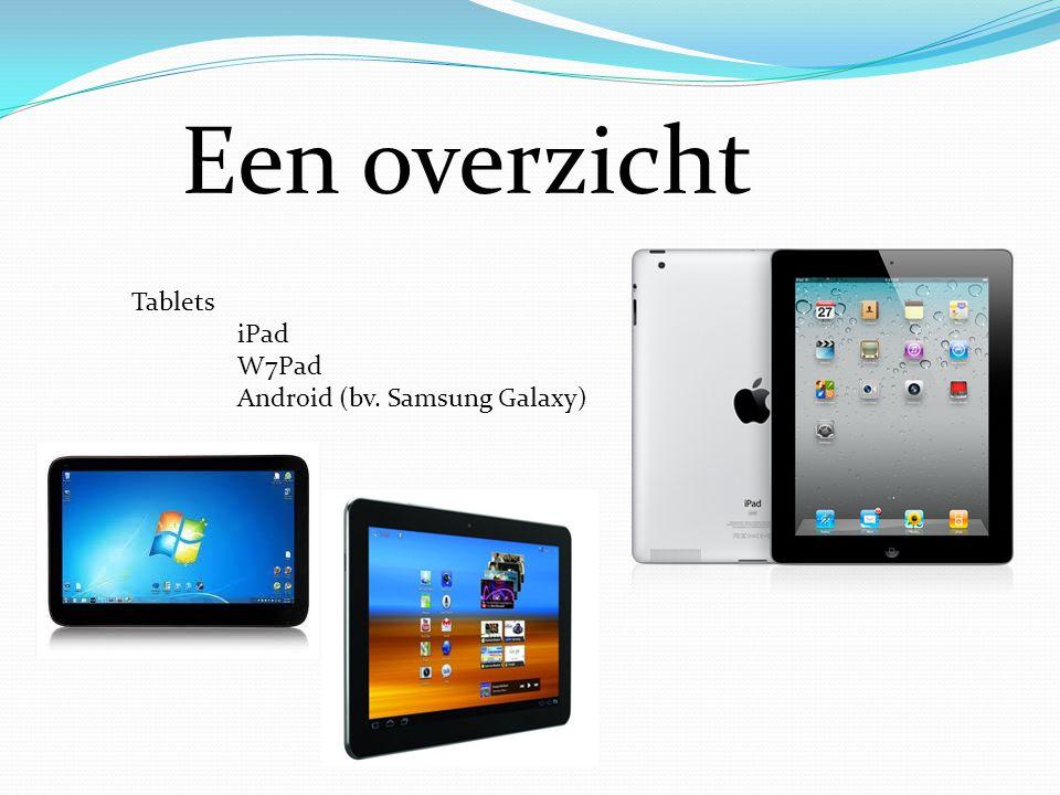 Een overzicht Tablets iPad W7Pad Android (bv. Samsung Galaxy)