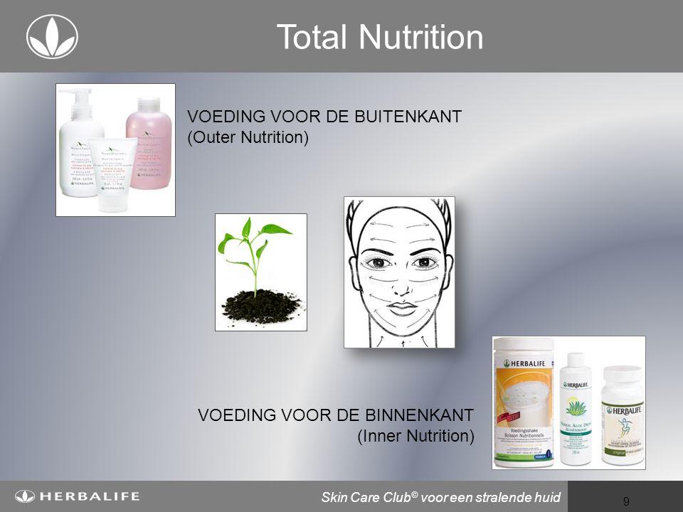 Voeding voor een beter leven 9 Total Nutrition VOEDING VOOR DE BUITENKANT (Outer Nutrition) VOEDING VOOR DE BINNENKANT (Inner Nutrition) Skin Care Club © voor een stralende huid