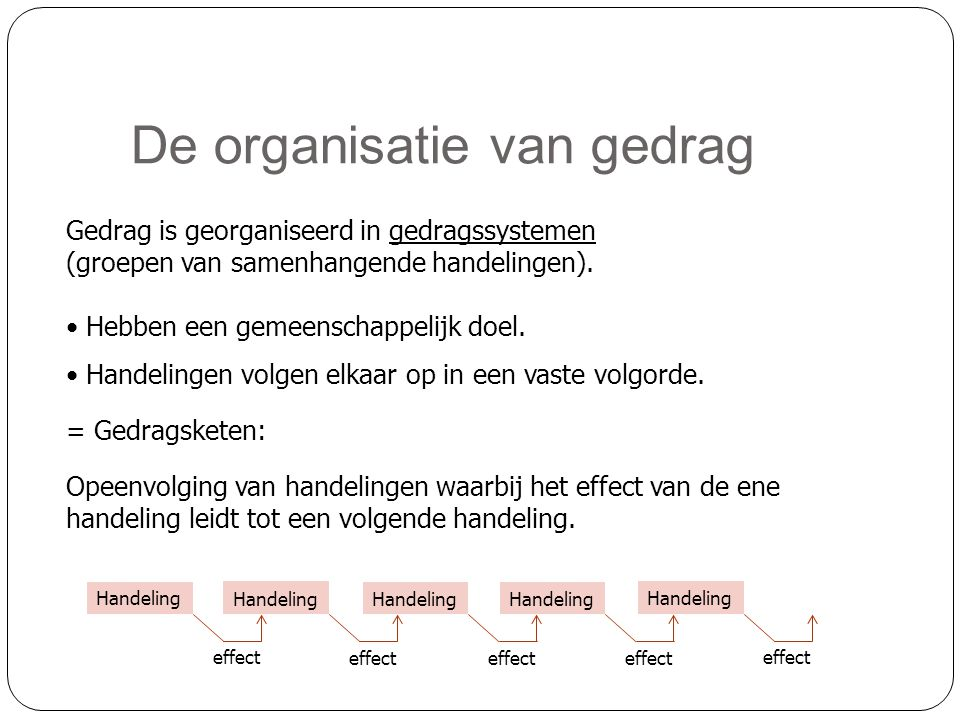 De organisatie van gedrag Gedrag is georganiseerd in gedragssystemen (groepen van samenhangende handelingen). • Hebben een gemeenschappelijk doel. • H