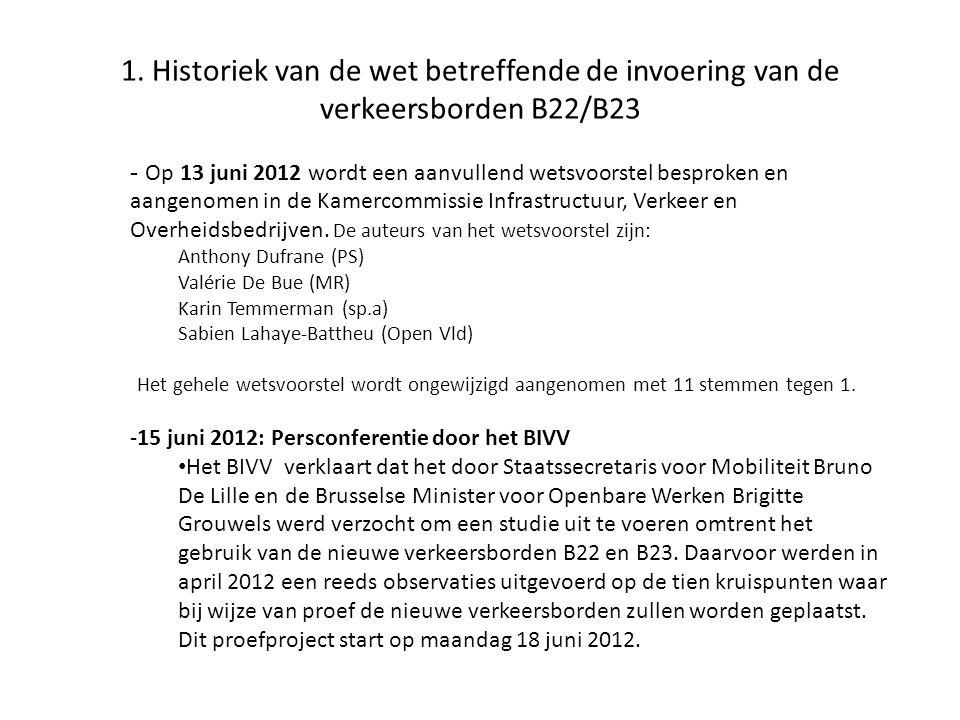 1. Historiek van de wet betreffende de invoering van de verkeersborden B22/B23 - Op 13 juni 2012 wordt een aanvullend wetsvoorstel besproken en aangen
