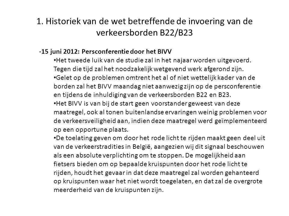 1. Historiek van de wet betreffende de invoering van de verkeersborden B22/B23 -15 juni 2012: Persconferentie door het BIVV • Het tweede luik van de s
