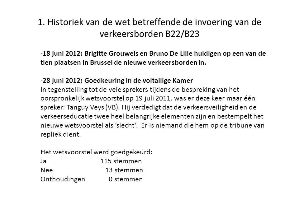 1. Historiek van de wet betreffende de invoering van de verkeersborden B22/B23 -18 juni 2012: Brigitte Grouwels en Bruno De Lille huldigen op een van