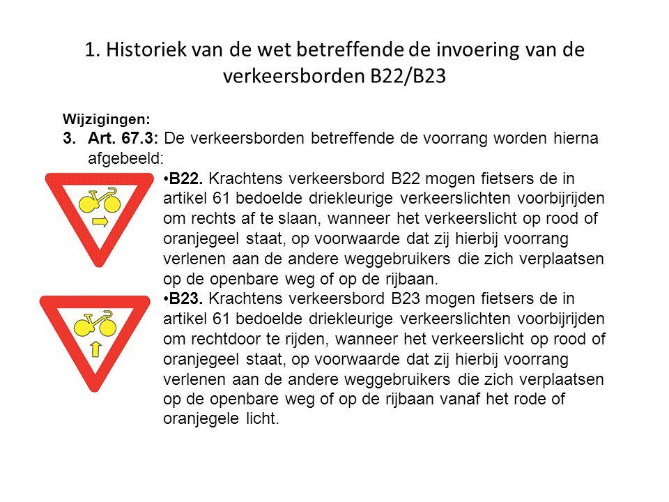 1. Historiek van de wet betreffende de invoering van de verkeersborden B22/B23 Wijzigingen: 3.Art. 67.3: De verkeersborden betreffende de voorrang wor