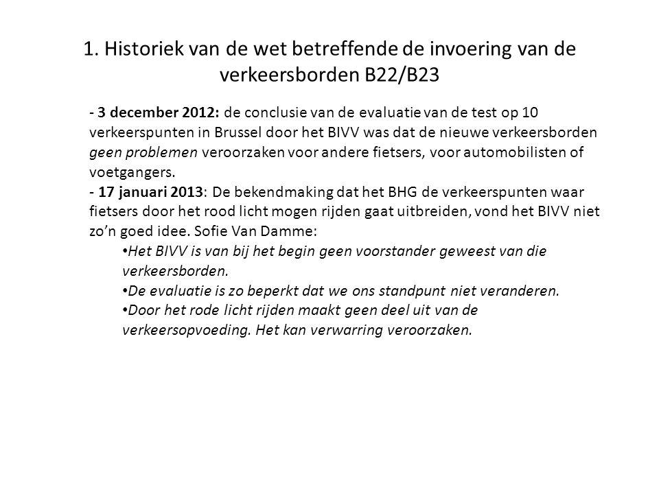 1. Historiek van de wet betreffende de invoering van de verkeersborden B22/B23 - 3 december 2012: de conclusie van de evaluatie van de test op 10 verk