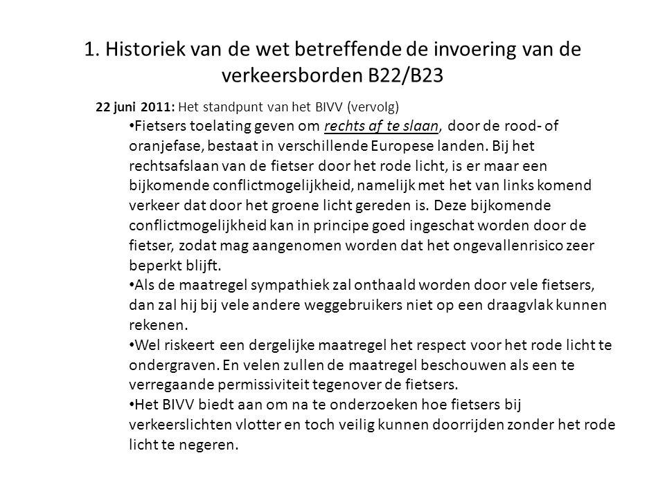 1. Historiek van de wet betreffende de invoering van de verkeersborden B22/B23 22 juni 2011: Het standpunt van het BIVV (vervolg) • Fietsers toelating
