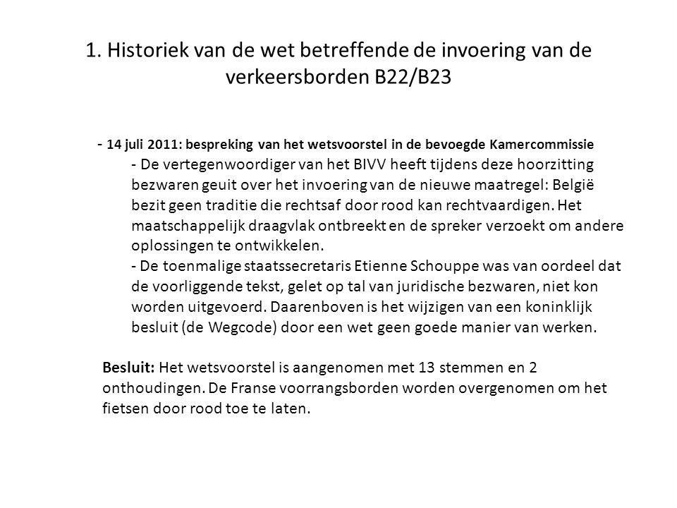 1. Historiek van de wet betreffende de invoering van de verkeersborden B22/B23 - 14 juli 2011: bespreking van het wetsvoorstel in de bevoegde Kamercom