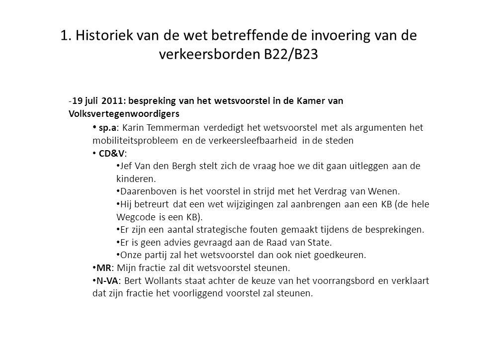 1. Historiek van de wet betreffende de invoering van de verkeersborden B22/B23 -19 juli 2011: bespreking van het wetsvoorstel in de Kamer van Volksver