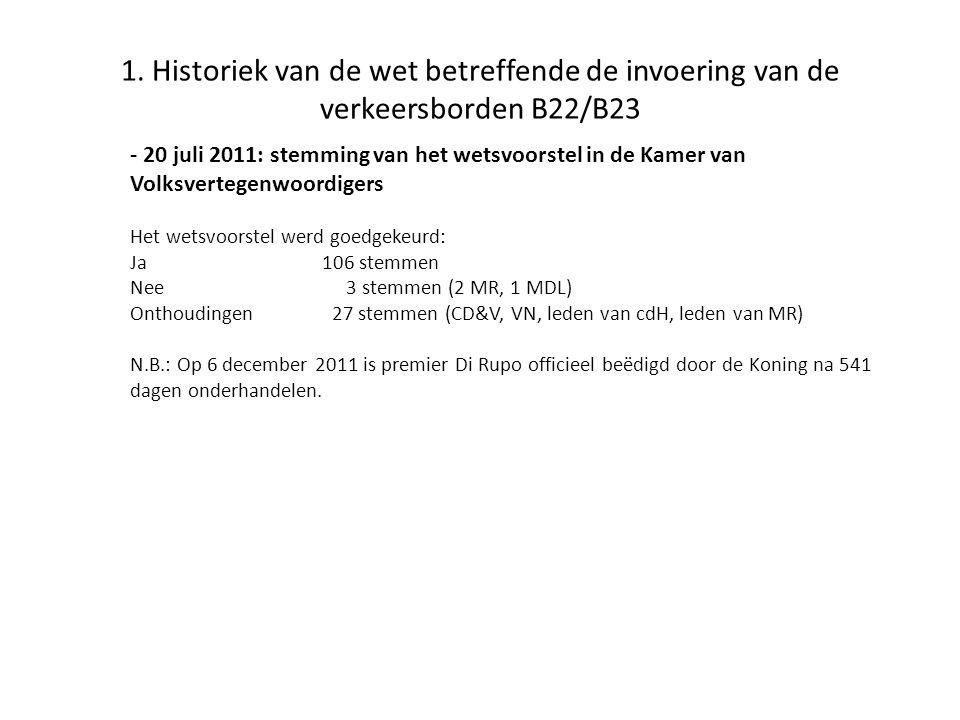 1. Historiek van de wet betreffende de invoering van de verkeersborden B22/B23 - 20 juli 2011: stemming van het wetsvoorstel in de Kamer van Volksvert