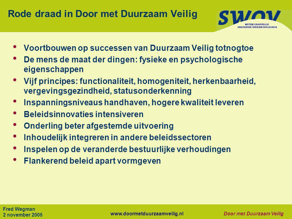 www.doormetduurzaamveilig.nlDoor met Duurzaam Veilig Fred Wegman 2 november 2005 Rode draad in Door met Duurzaam Veilig • Voortbouwen op successen van