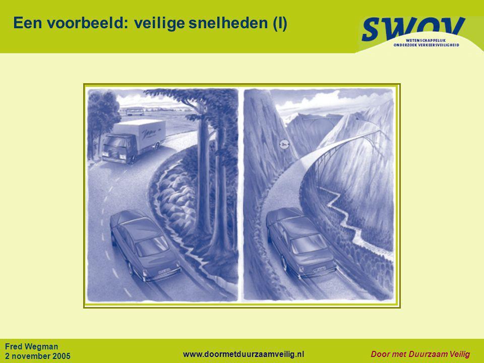 www.doormetduurzaamveilig.nlDoor met Duurzaam Veilig Fred Wegman 2 november 2005 Een voorbeeld: veilige snelheden (I)