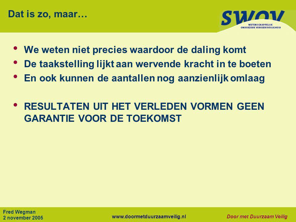 www.doormetduurzaamveilig.nlDoor met Duurzaam Veilig Fred Wegman 2 november 2005 Dat is zo, maar… • We weten niet precies waardoor de daling komt • De
