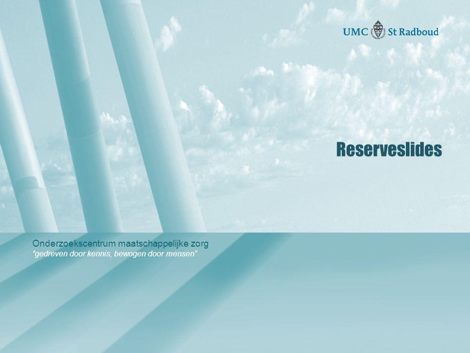 """Onderzoekscentrum maatschappelijke zorg """"gedreven door kennis, bewogen door mensen"""" Reserveslides"""