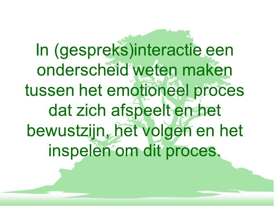 In (gespreks)interactie een onderscheid weten maken tussen het opkomen van bepaalde emoties, het persoonlijk ervaren en omgaan hiermee, de passende uiting ervan en de wenselijke reactie op basis ervan.