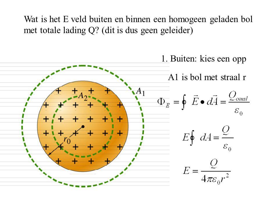 Wat is het E veld buiten en binnen een homogeen geladen bol met totale lading Q? (dit is dus geen geleider) 1. Buiten: kies een opp A1 is bol met stra