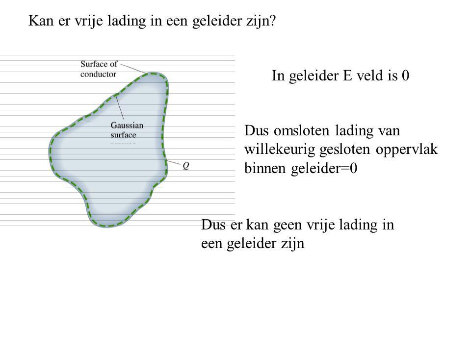 Kan er vrije lading in een geleider zijn? In geleider E veld is 0 Dus omsloten lading van willekeurig gesloten oppervlak binnen geleider=0 Dus er kan
