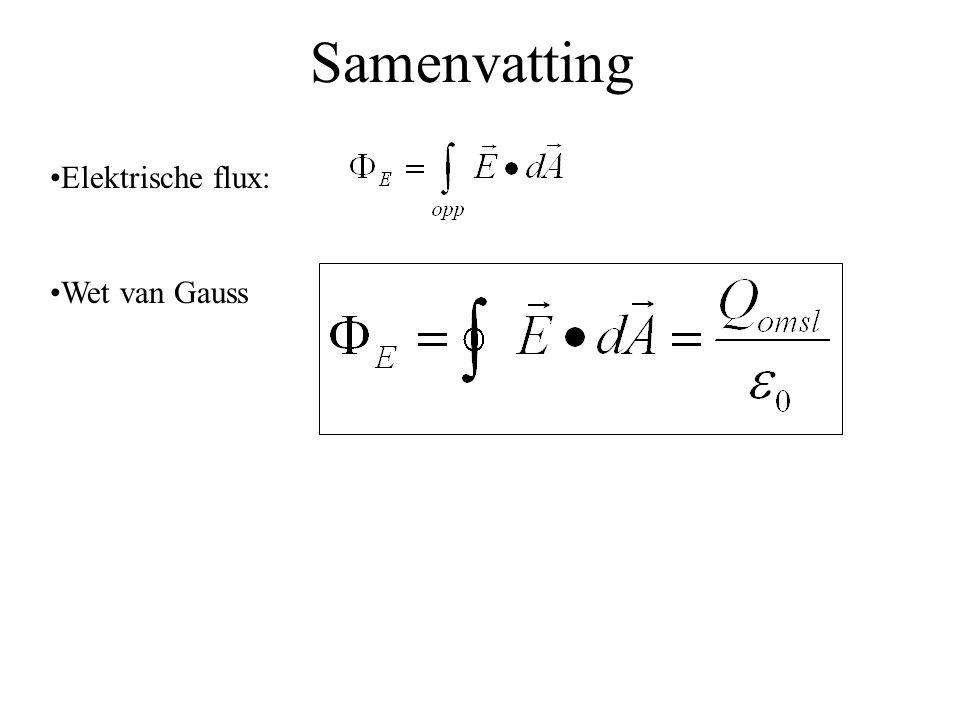 Samenvatting •Elektrische flux: •Wet van Gauss