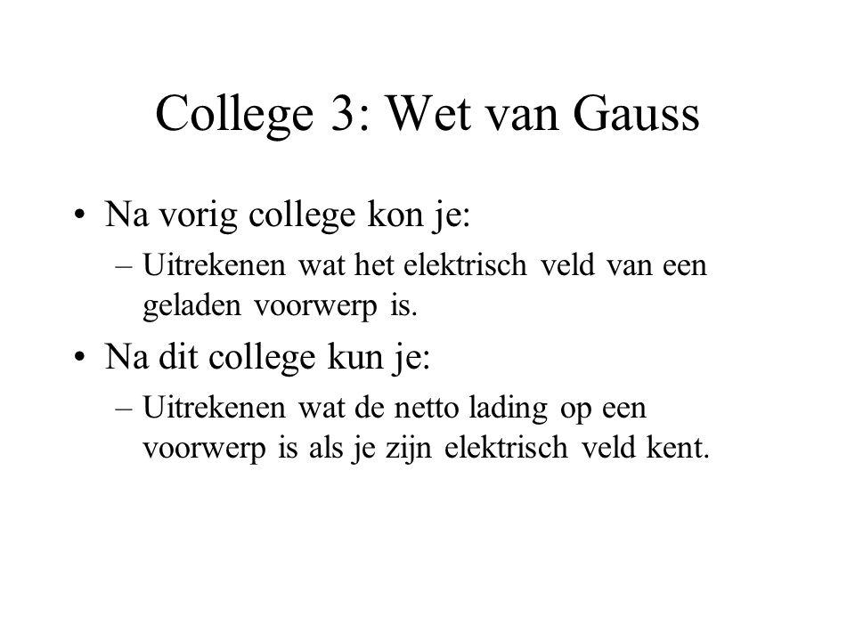 College 3: Wet van Gauss •Na vorig college kon je: –Uitrekenen wat het elektrisch veld van een geladen voorwerp is. •Na dit college kun je: –Uitrekene