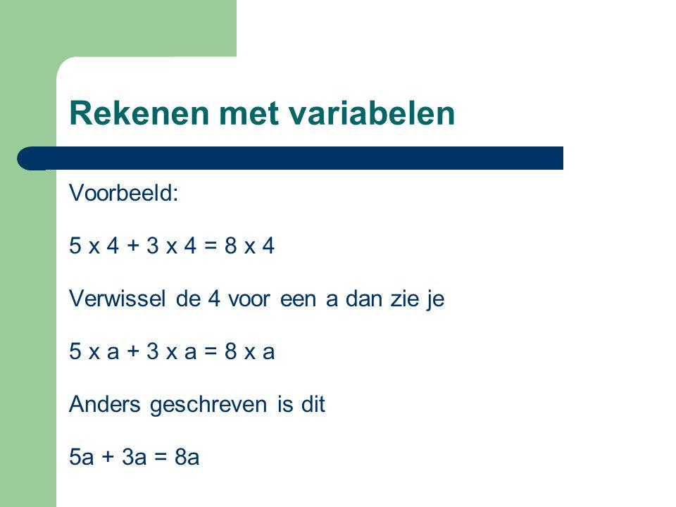 Rekenen met variabelen Voorbeeld: 5 x 4 + 3 x 4 = 8 x 4 Verwissel de 4 voor een a dan zie je 5 x a + 3 x a = 8 x a Anders geschreven is dit 5a + 3a =