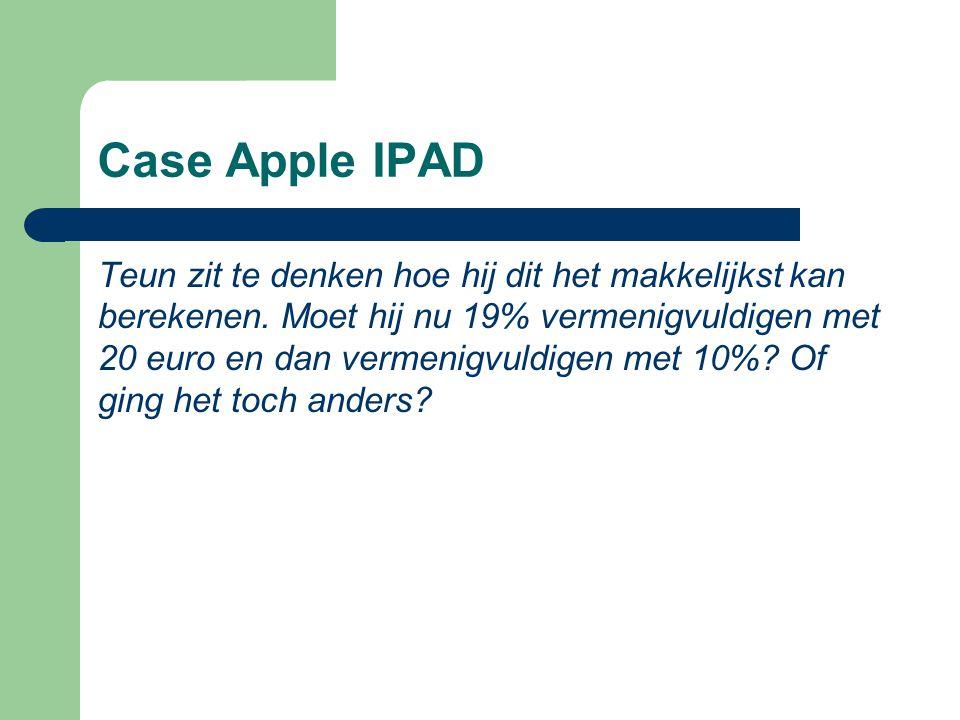 Case Apple IPAD Teun zit te denken hoe hij dit het makkelijkst kan berekenen. Moet hij nu 19% vermenigvuldigen met 20 euro en dan vermenigvuldigen met