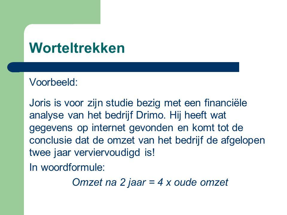 Worteltrekken Voorbeeld: Joris is voor zijn studie bezig met een financiële analyse van het bedrijf Drimo. Hij heeft wat gegevens op internet gevonden