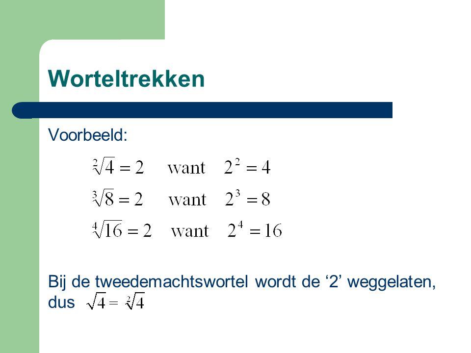 Worteltrekken Voorbeeld: Bij de tweedemachtswortel wordt de '2' weggelaten, dus