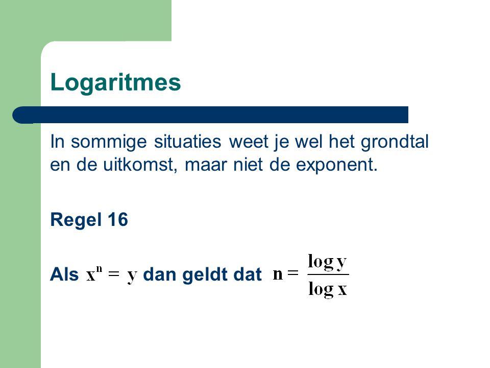 Logaritmes In sommige situaties weet je wel het grondtal en de uitkomst, maar niet de exponent. Regel 16 Als dan geldt dat