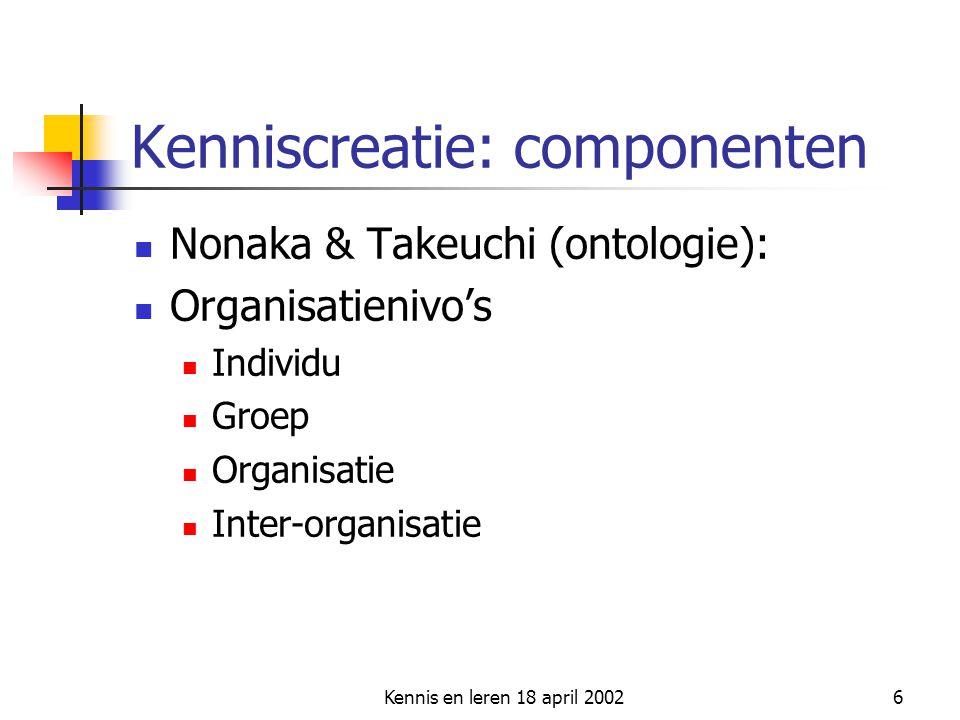 Kennis en leren 18 april 20026 Kenniscreatie: componenten  Nonaka & Takeuchi (ontologie):  Organisatienivo's  Individu  Groep  Organisatie  Inte