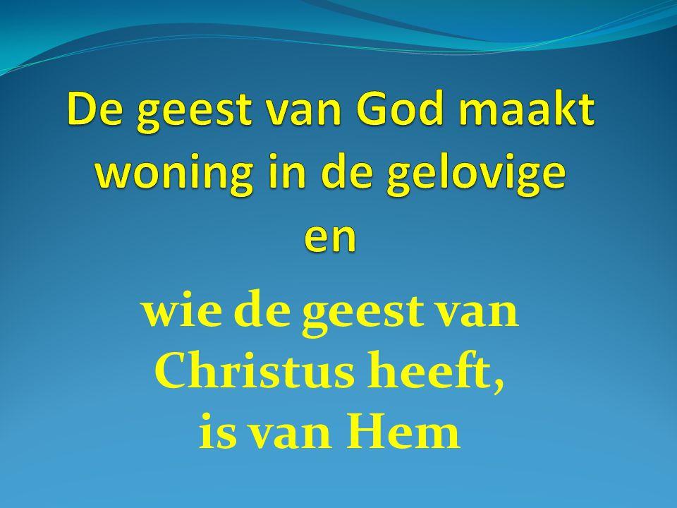 wie de geest van Christus heeft, is van Hem