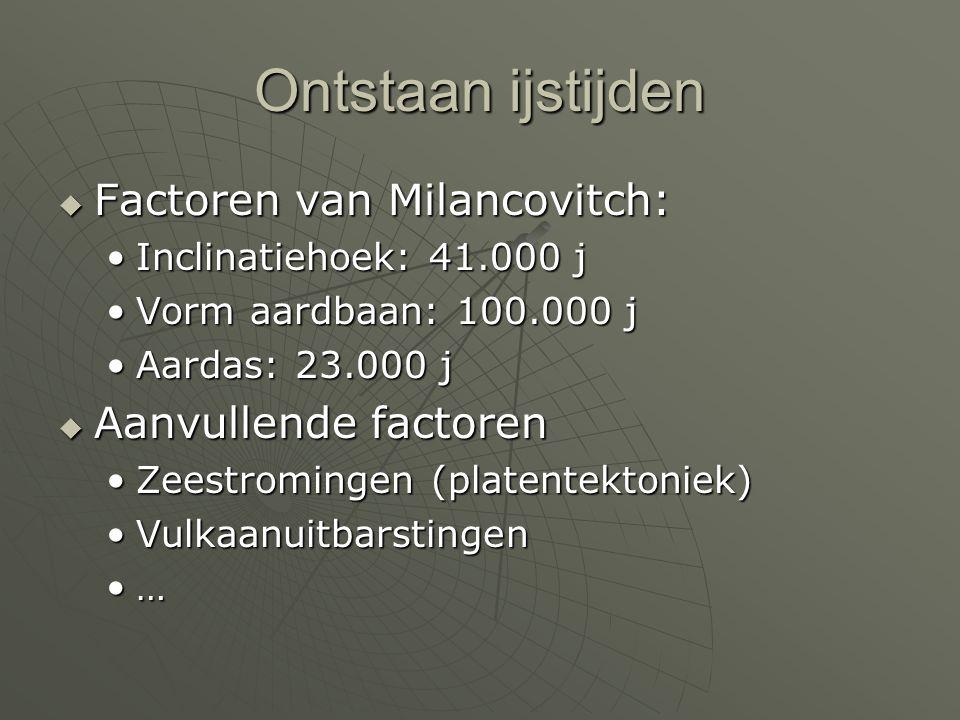 Ontstaan ijstijden  Factoren van Milancovitch: •Inclinatiehoek: 41.000 j •Vorm aardbaan: 100.000 j •Aardas: 23.000 j  Aanvullende factoren •Zeestrom
