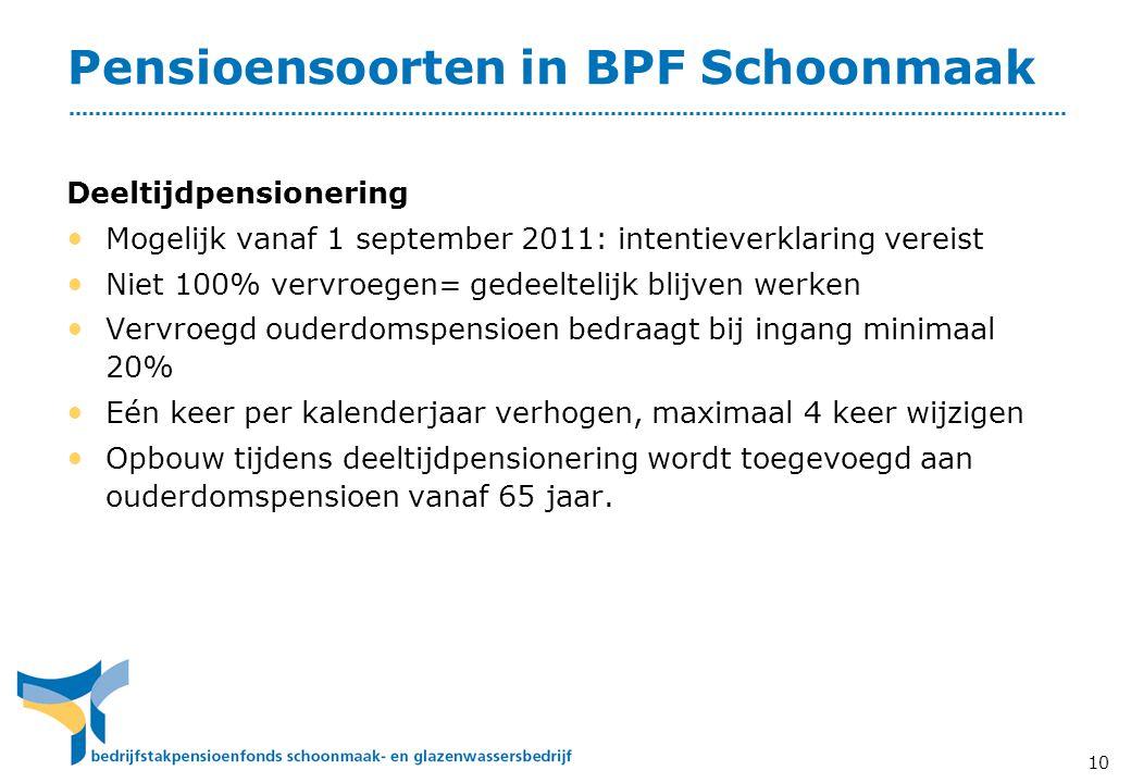 10 Pensioensoorten in BPF Schoonmaak Deeltijdpensionering • Mogelijk vanaf 1 september 2011: intentieverklaring vereist • Niet 100% vervroegen= gedeel