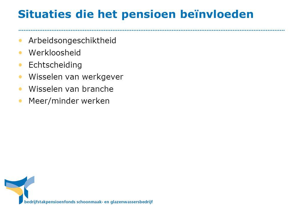 Situaties die het pensioen beïnvloeden • Arbeidsongeschiktheid • Werkloosheid • Echtscheiding • Wisselen van werkgever • Wisselen van branche • Meer/m