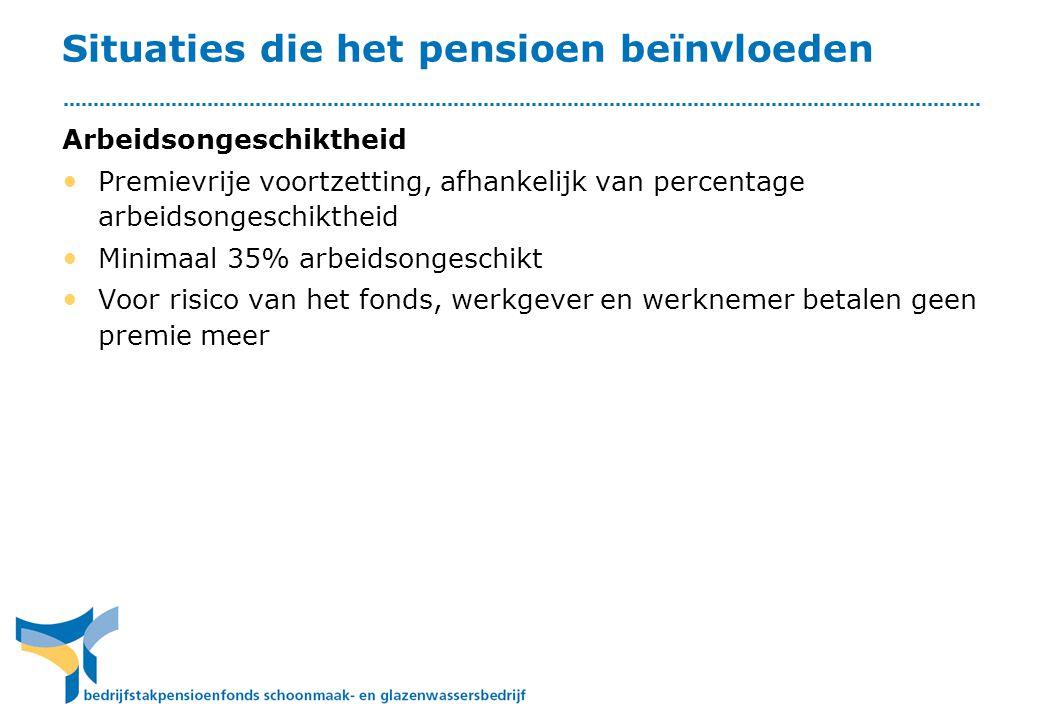Situaties die het pensioen beïnvloeden Arbeidsongeschiktheid • Premievrije voortzetting, afhankelijk van percentage arbeidsongeschiktheid • Minimaal 3