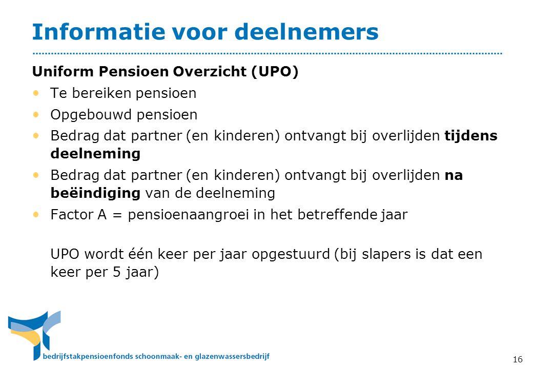 Informatie voor deelnemers Uniform Pensioen Overzicht (UPO) • Te bereiken pensioen • Opgebouwd pensioen • Bedrag dat partner (en kinderen) ontvangt bi