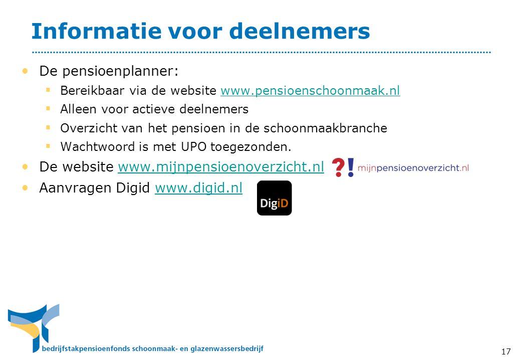 Informatie voor deelnemers • De pensioenplanner:  Bereikbaar via de website www.pensioenschoonmaak.nlwww.pensioenschoonmaak.nl  Alleen voor actieve