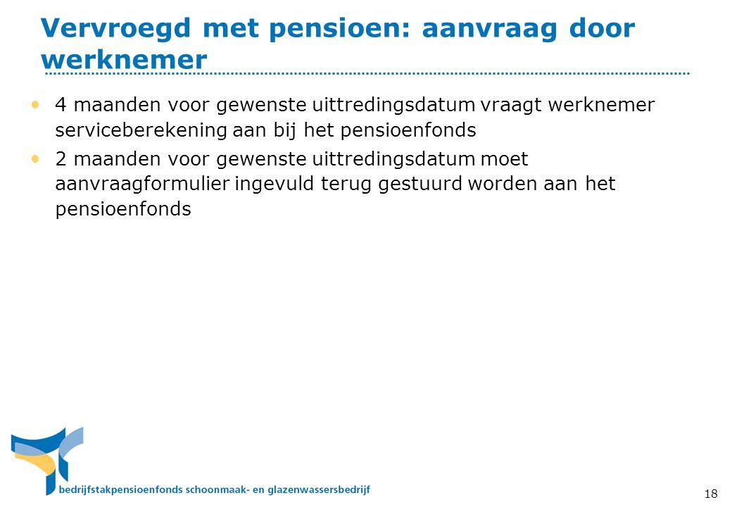 Vervroegd met pensioen: aanvraag door werknemer • 4 maanden voor gewenste uittredingsdatum vraagt werknemer serviceberekening aan bij het pensioenfond